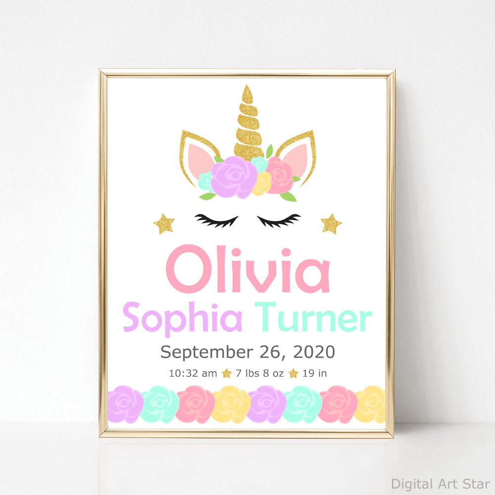 Personalized Floral Unicorn Birth Stats Template Printable