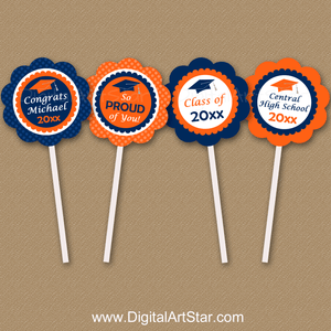 Personalized Graduation Cupcake Picks Navy Blue and Orange