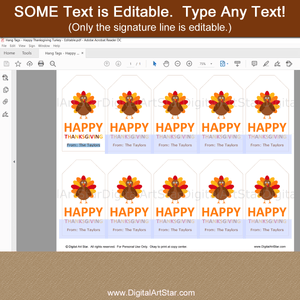 Personalized Happy Thanksgiving Favor Tag Template