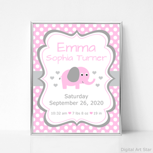 Personalized Pink Elephant Birth Stats Printable