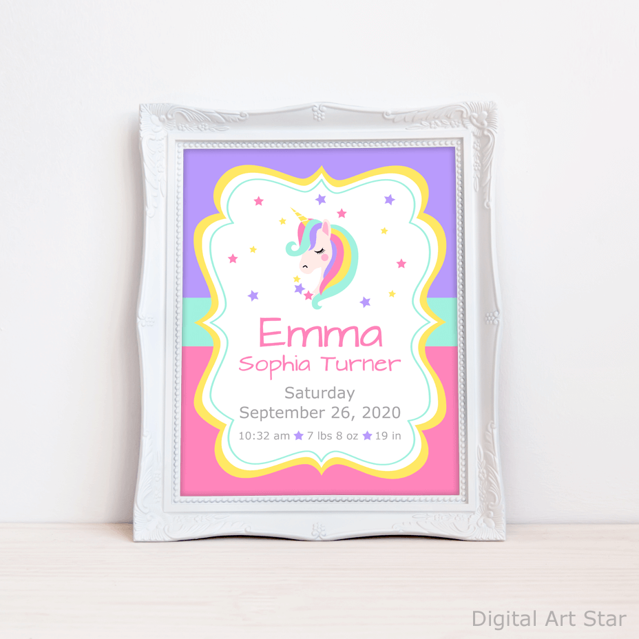 Personalized Unicorn Birth Stats Wall Art with Name
