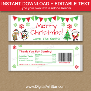 Personalized Christmas Candy Bar Wrappers
