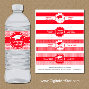 Personalized Red and White Graduation Water Bottle Decorations 2021