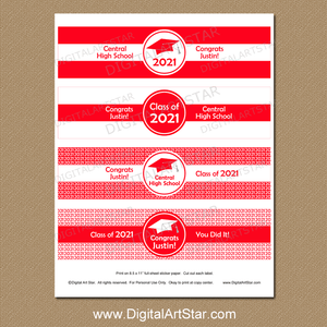 Personalized Red and White Graduation Water Bottle Labels Printable Class of 2021