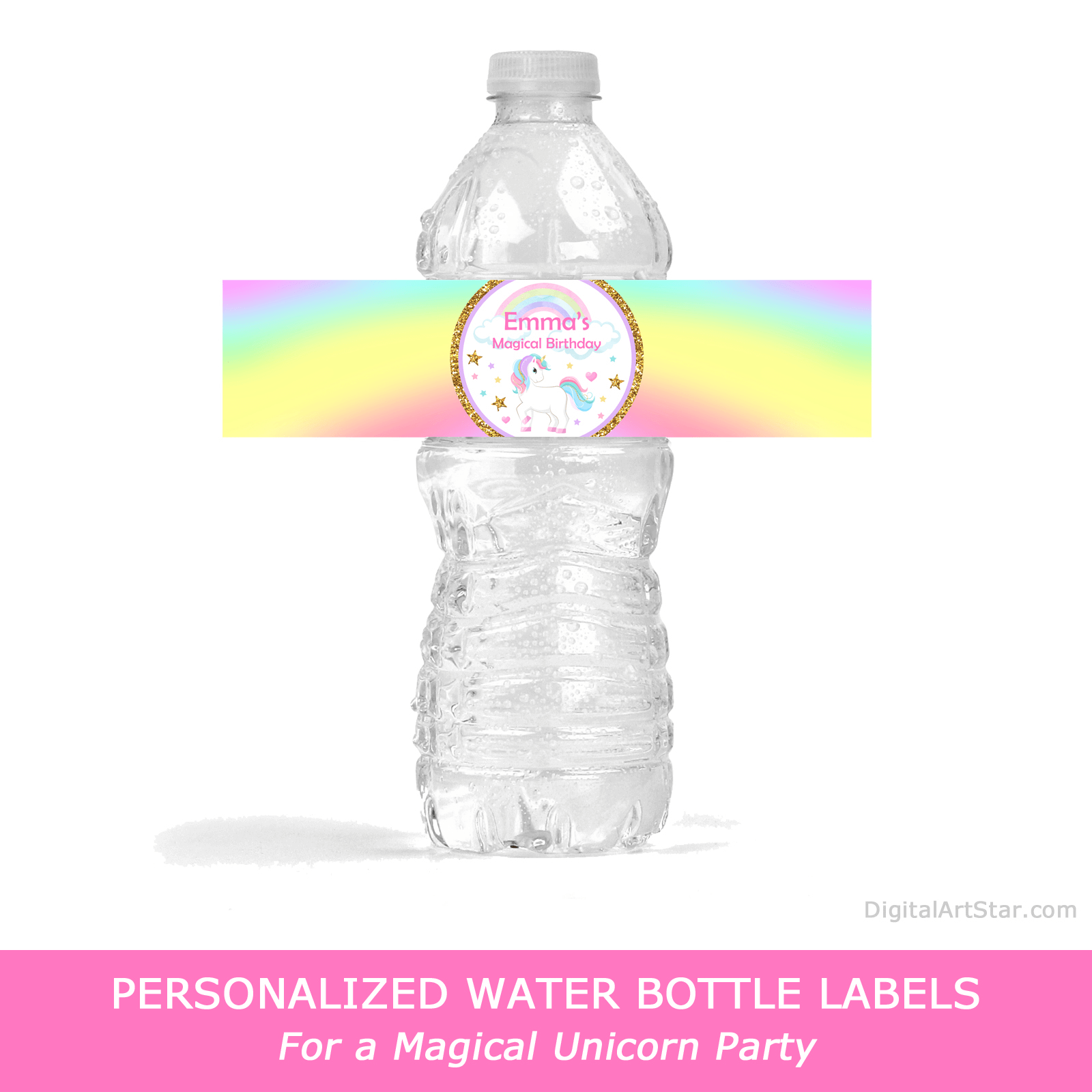 Personalized Water Bottle Labels for Magical Unicorn Birthday Party