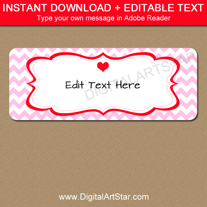Pink Chevron Valentines Day Address Label Template