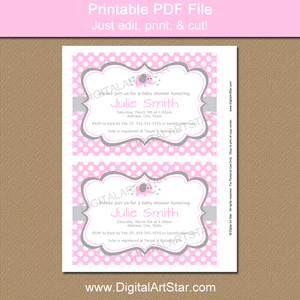 Pink Elephant Baby Shower Invitation Printable PDF