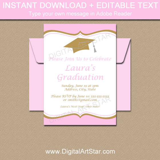 Pink and Gold Graduation Party Invitations