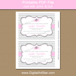 Pink and Gray Chevron Elephant Baby Shower Invitations Printable
