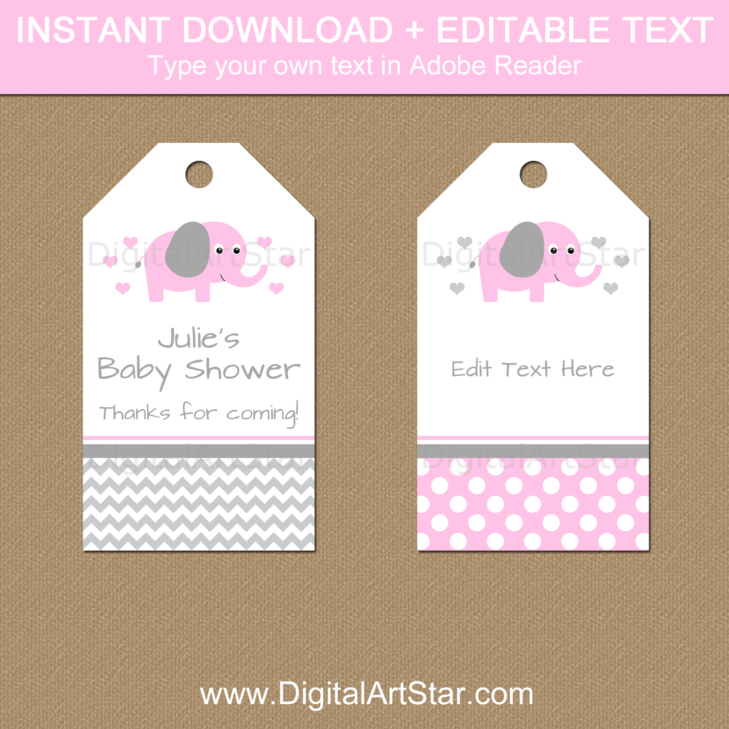 Pink and Gray Elephant Baby Shower Thank You Tags Template