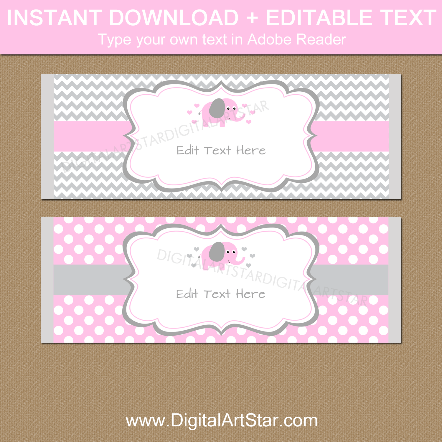 Pink and Gray Elephant Chocolate Bar Wrapper Template