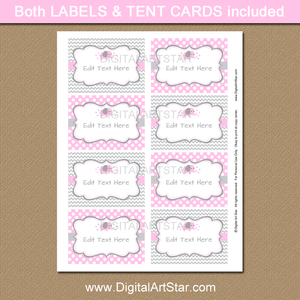 Pink and Gray Elephant Labels Template