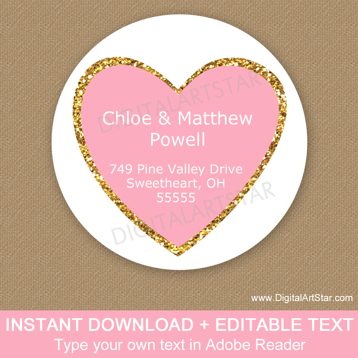 Pink Heart Address Label Template Download