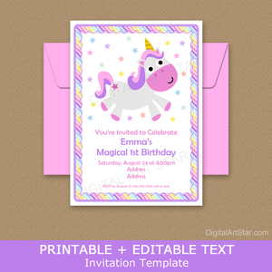 Pink and Purple Unicorn Birthday Party Invitation Template