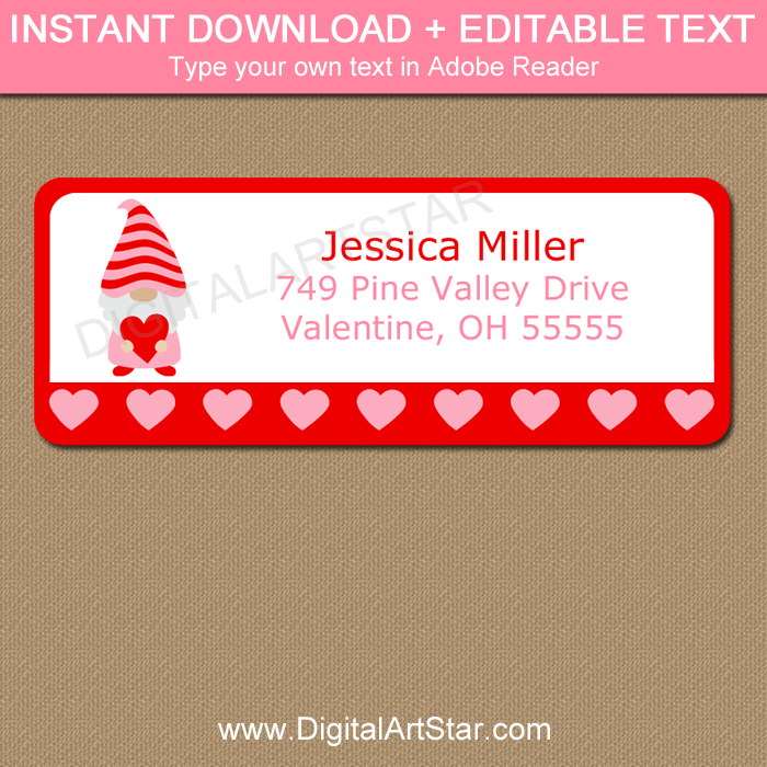 Pink and Red Gnome Valentine Address Label Template