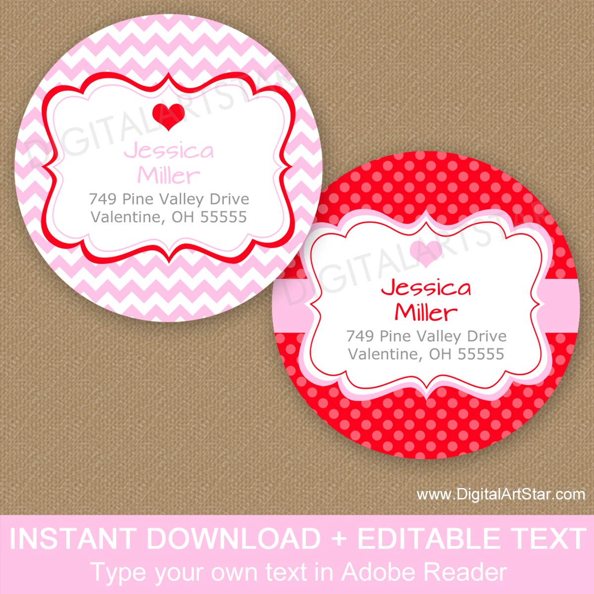 Pink and Red Valentines Day Return Address Labels Round