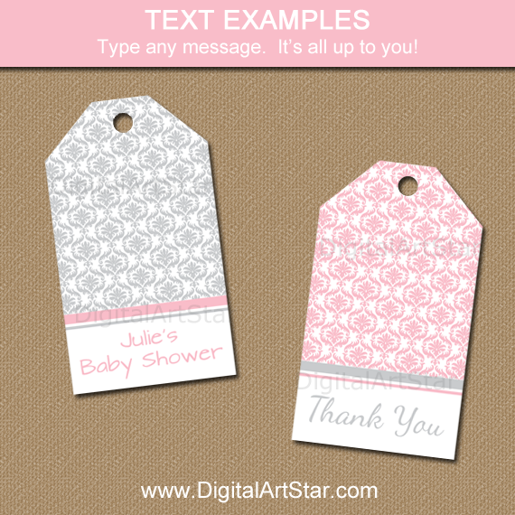 Pink and Gray Tags for Baby Shower, Wedding, Birthday