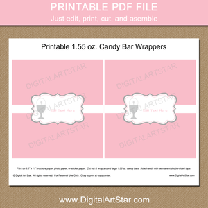 Pink and White First Communion Chocolate Bar Wrappers Printable
