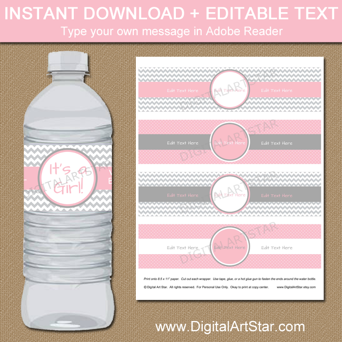 Pink and Gray Baby Shower Water Bottle Labels