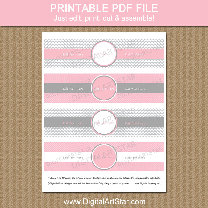 Pink and Gray Chevron Water Bottle Labels