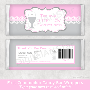 Girl First Communion Candy Bar Wrappers in Pink and Gray