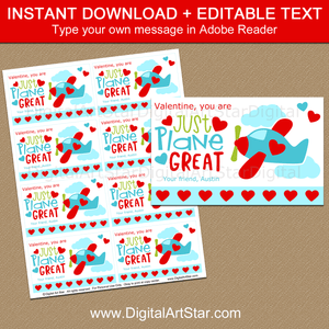 Editable Airplane Valentine Cards for Boys