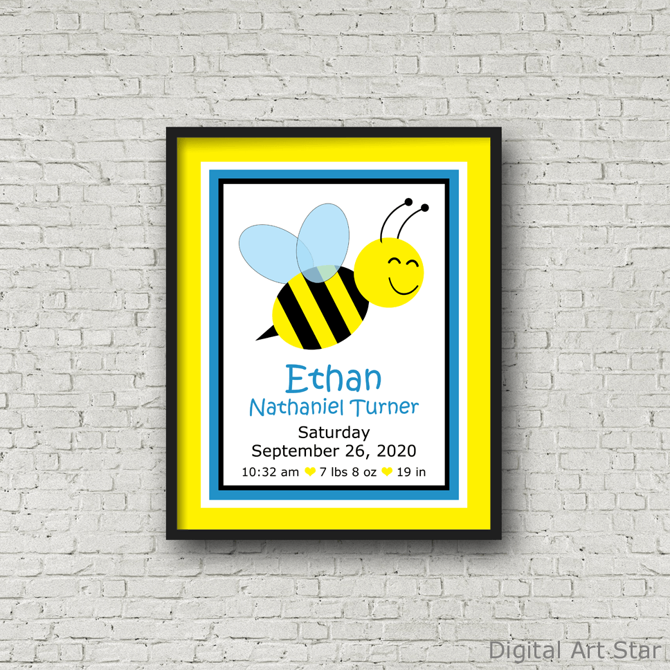 Printable Bumble Bee Birth Stats Sign for Boy Nursery
