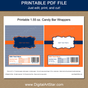 Printable Candy Bar Wrappers Template Navy Blue and Orange