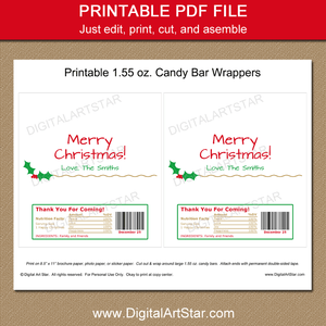 Printable Christmas Candy Bar Wrapper Template Holly Gold Accents
