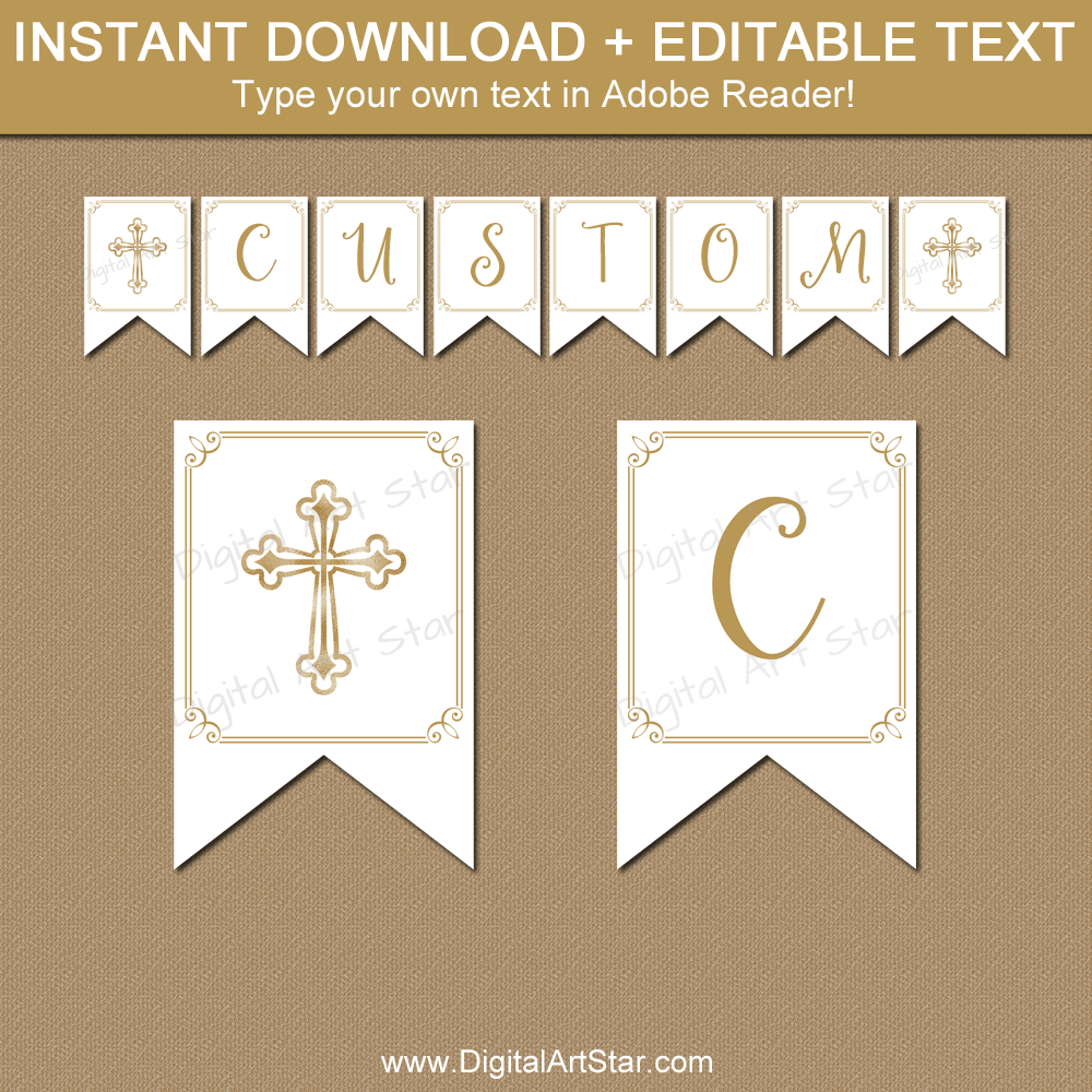 Printable First Communion Banner Template White and Gold Intended For First Communion Banner Templates