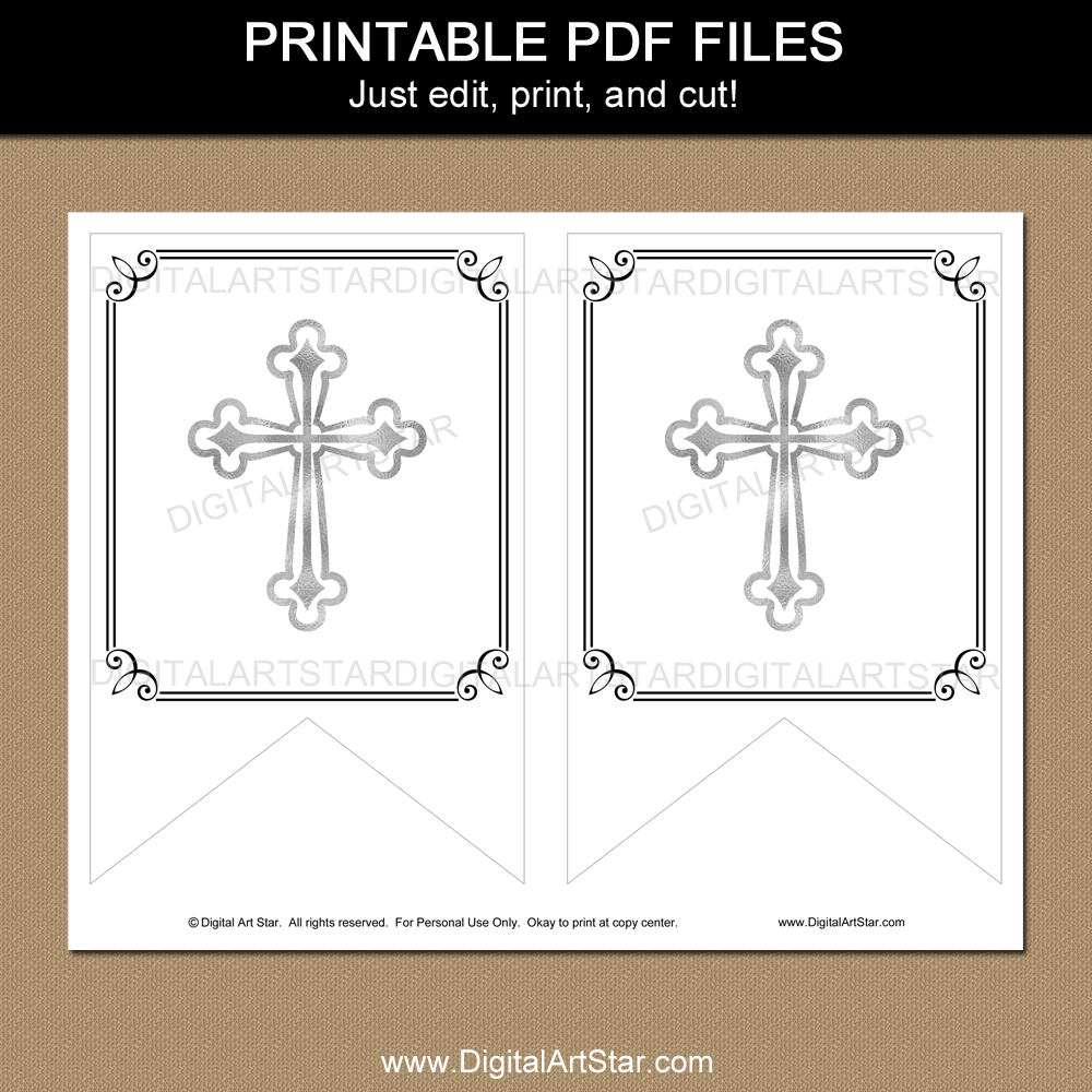 Black and White First Communion Banner Printable Template Within First Communion Banner Templates