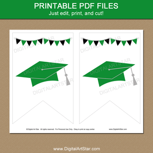 Printable Graduation Banner Template Green White Black