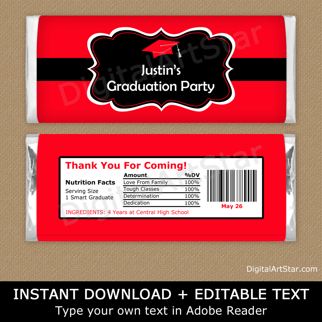 Printable Graduation Candy Bar Labels Red and Black