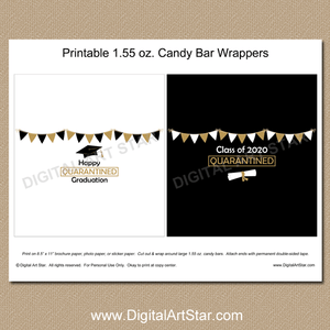 Black White Gold Quarantine Graduation Candy Bar Wrappers Printable