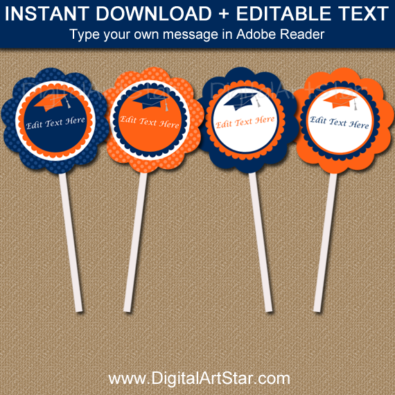 Printable Graduation Cupcake Toppers in Orange and Navy Blue