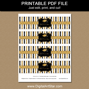 Printable Graduation Water Bottle Labels Black Gold Glitter Stripes