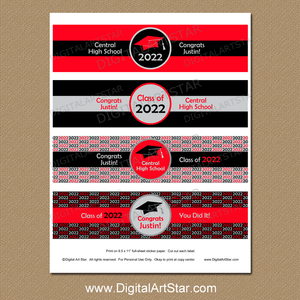 Printable Graduation Water Bottle Labels Red Black and Silver