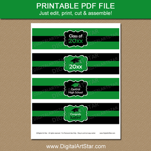 Printable Green Graduation Water Bottle Labels
