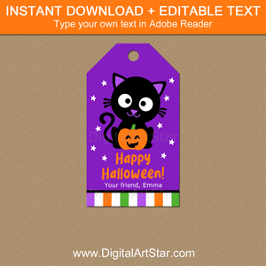 Printable Halloween Gift Tags Black Cat Pumpkin