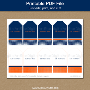 Printable Hang Tag Template Navy Blue Orange White