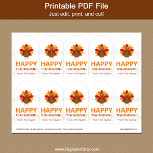 Printable Happy Thanksgiving Favor Tags Turkey