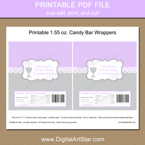 Printable Lavender First Communion Chocolate Bar Wrappers