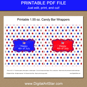 Printable Patriotic Candy Wrappers Red White Blue