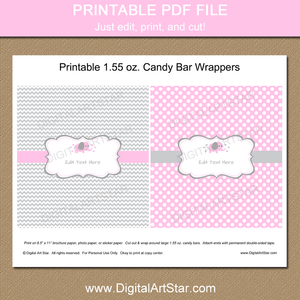 Printable Pink Gray Elephant Candy Bar Wrapper Template
