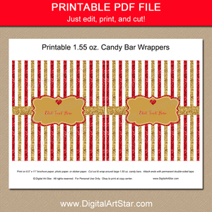 Printable Red and Gold Glitter Chocolate Bar Wrapper Template