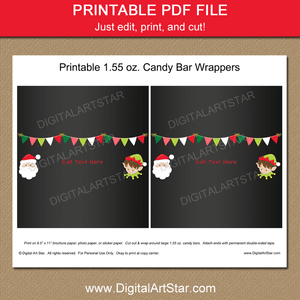Printable Santa Elf Christmas Candy Bar Wrappers Template
