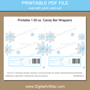 Printable Snowflake Candy Wrappers for Winter Wedding and Christmas