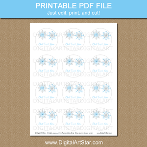 Printable Snowflake Cupcake Toppers Template Blue Silver White