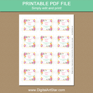 Printable Square Address Label Template Tulips