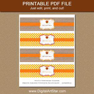 Printable Thanksgiving Water Bottle Labels in Brown and Yellow